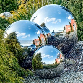 Garden decoration stainless steel hollow sphere mirror metal ball