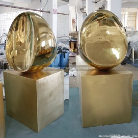 Egg Shape Modern Art Stainless Steel Decorative Sculpture