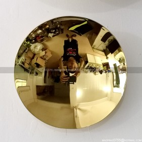 200mm Modern Golden Stainless Steel Mirror Concave Sculpture