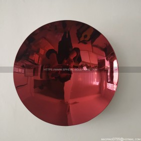 200mm stainless steel red mirror concave dish interior decoration sculpture