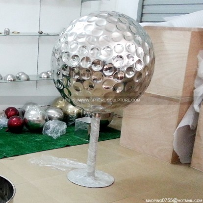 Outdoor Decorative Stainless Steel Golf sphere Polished Sculpture