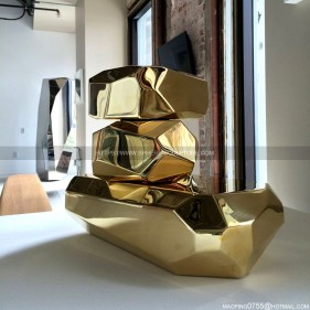 Golden Mirror Polished Stainless Steel Geometric Sculpture