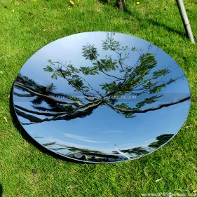 Mirror polished metal round concave disc