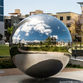 Public Garden Decorative Mirror Stainless Steel Lighting Sphere