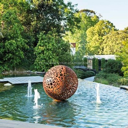 Corten Steel Garden sphere Sculpture