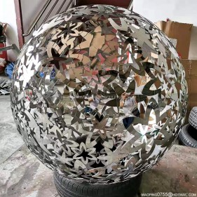 Metal Hollow Pattern Sphere Garden Stainless Steel Sculpture