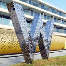 Building Hotel Sign Metal Abstract Modern Sculpture