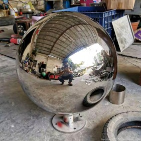 500mm polished stainless steel hollow sphere with base