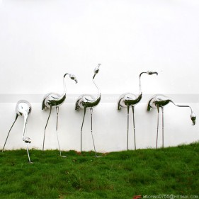 Metal Bird Sculpture Stainless Steel Flamingo